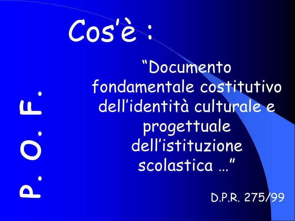 Cos'è : Documento fondamentale costitutivo dell'identità culturale e progettuale dell'istituzione.