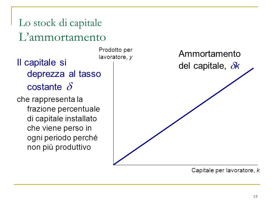 Lo stock di capitale L'ammortamento
