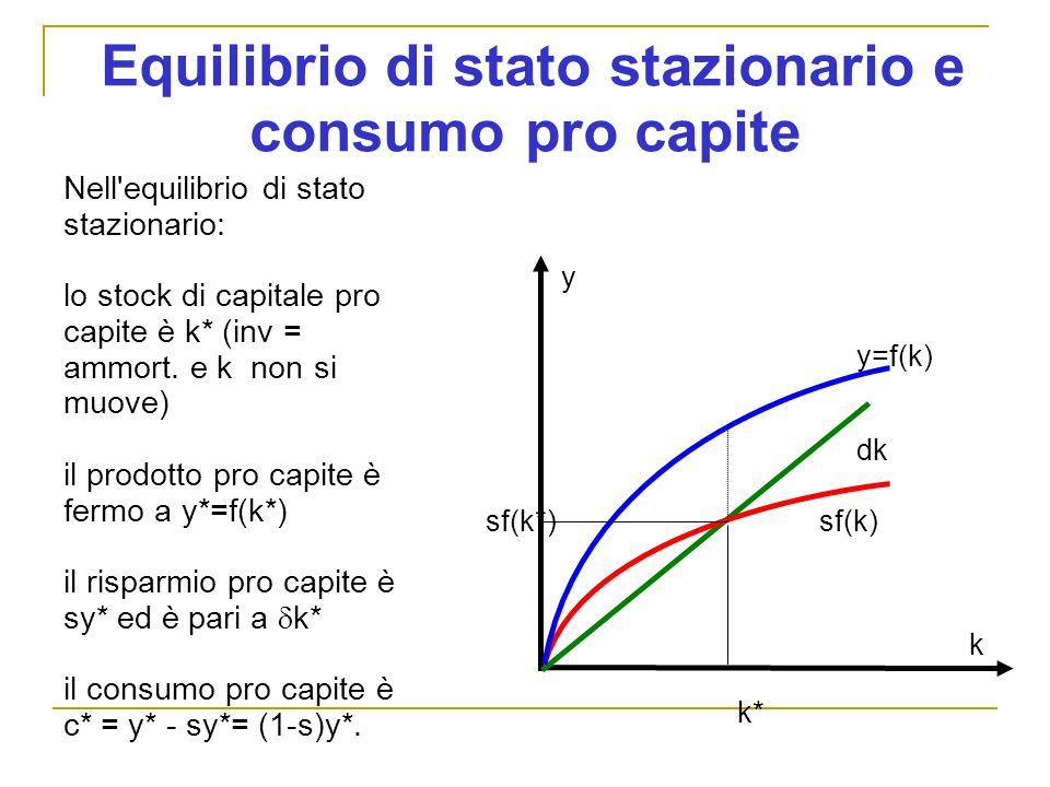 Equilibrio di stato stazionario e consumo pro capite