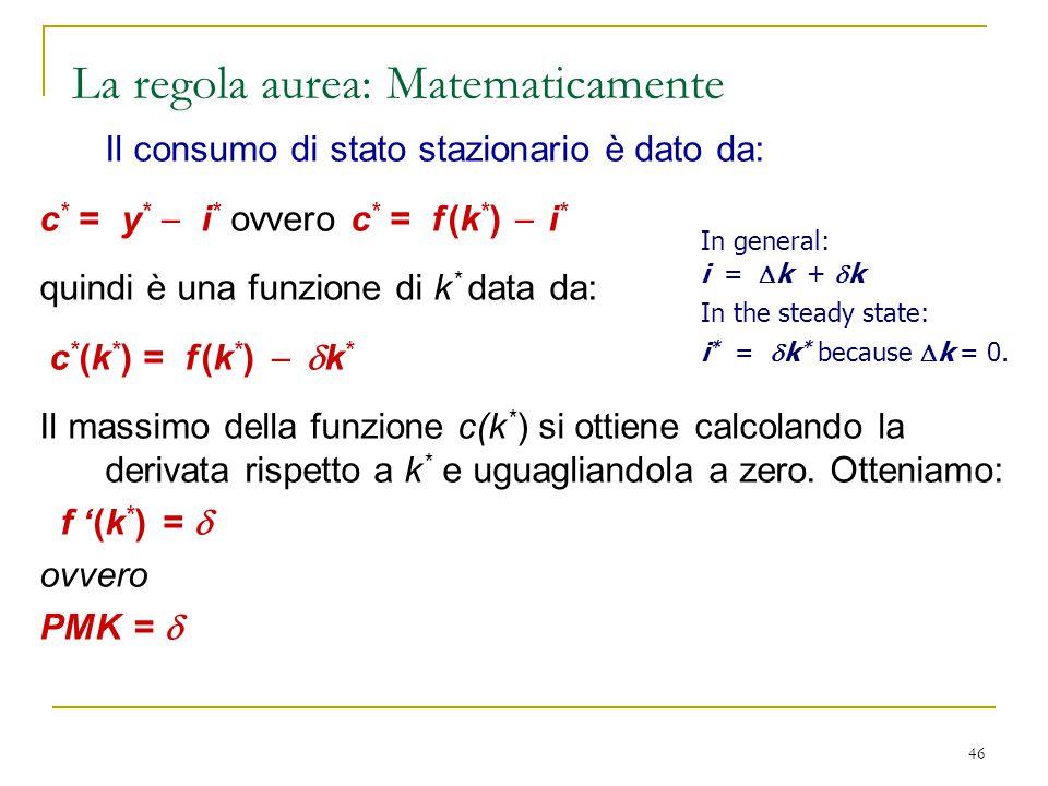 La regola aurea: Matematicamente