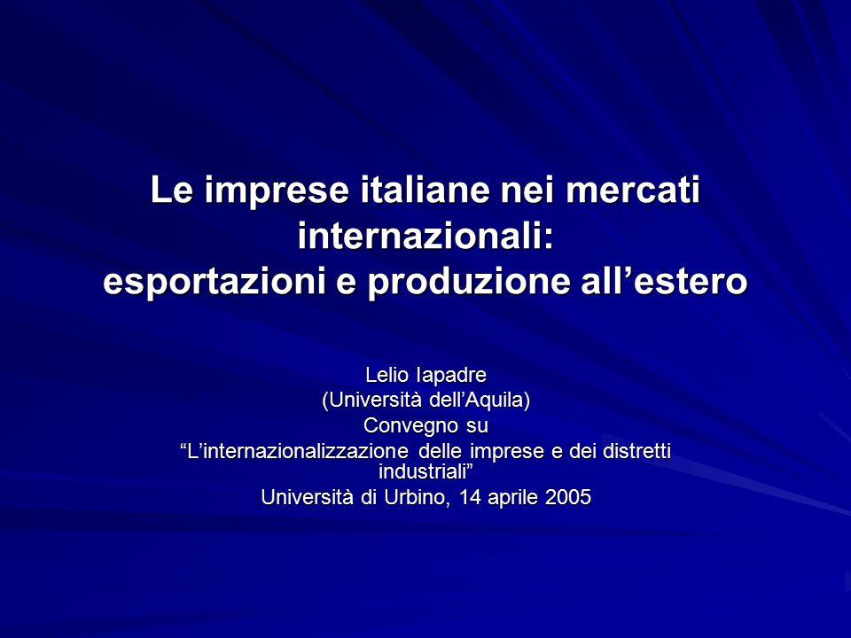 Le imprese italiane nei mercati internazionali: esportazioni e produzione all'estero