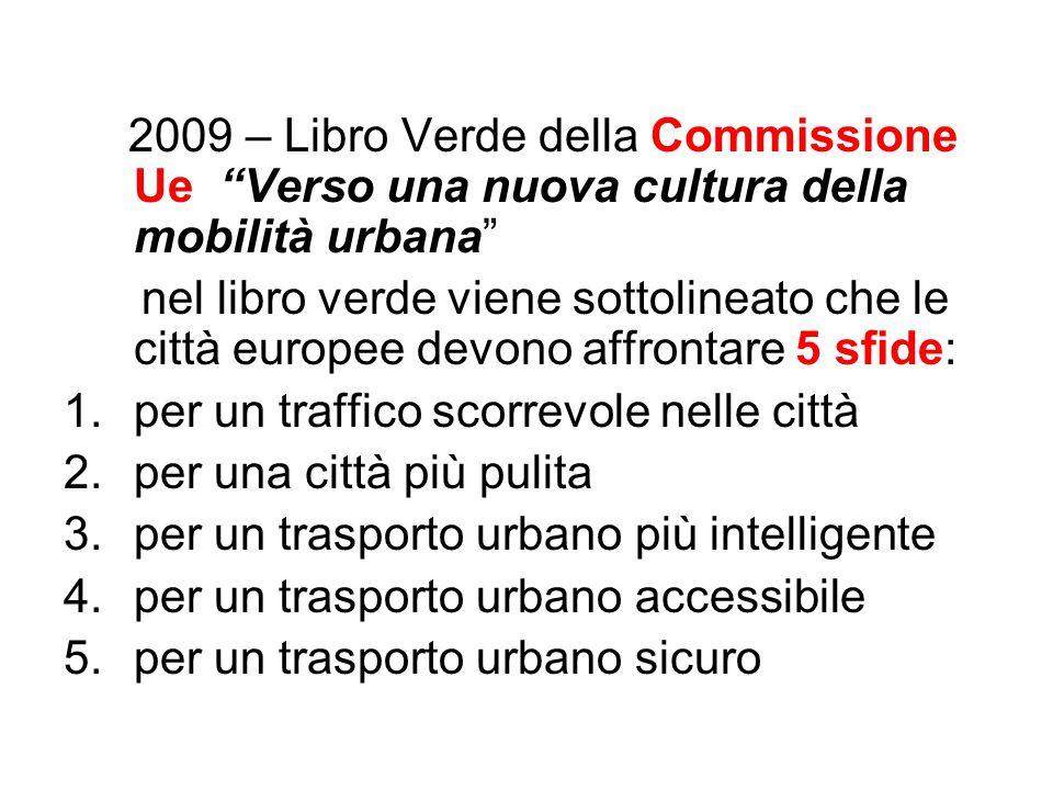 2009 – Libro Verde della Commissione Ue Verso una nuova cultura della mobilità urbana