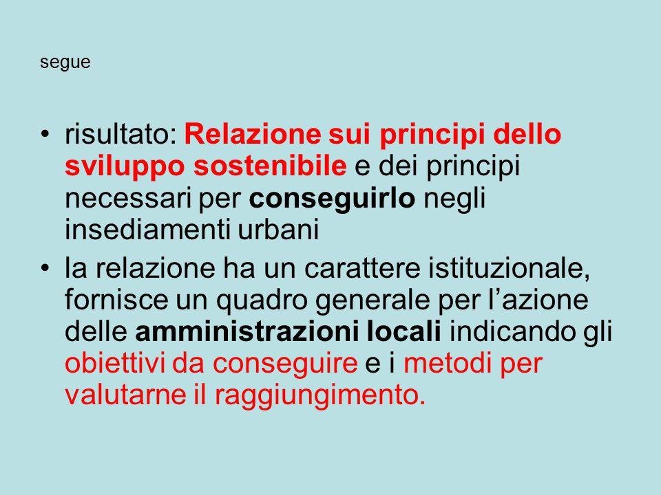 segue risultato: Relazione sui principi dello sviluppo sostenibile e dei principi necessari per conseguirlo negli insediamenti urbani.