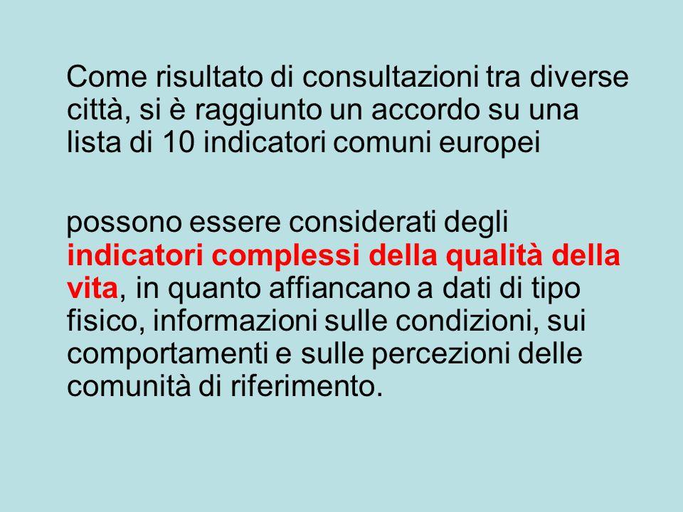 Come risultato di consultazioni tra diverse città, si è raggiunto un accordo su una lista di 10 indicatori comuni europei