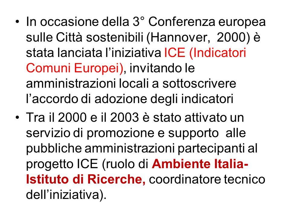 In occasione della 3° Conferenza europea sulle Città sostenibili (Hannover, 2000) è stata lanciata l'iniziativa ICE (Indicatori Comuni Europei), invitando le amministrazioni locali a sottoscrivere l'accordo di adozione degli indicatori