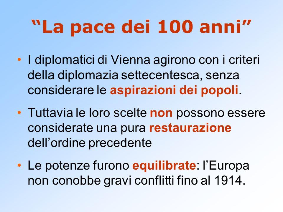 La pace dei 100 anni I diplomatici di Vienna agirono con i criteri della diplomazia settecentesca, senza considerare le aspirazioni dei popoli.