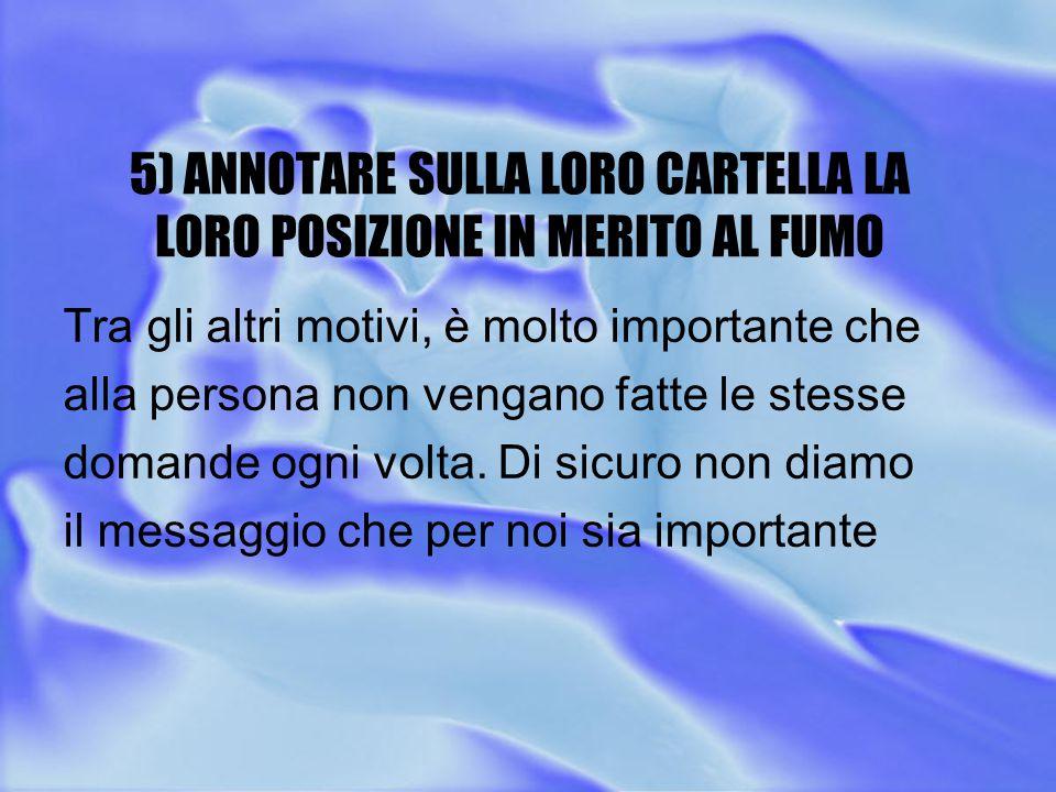 5) ANNOTARE SULLA LORO CARTELLA LA LORO POSIZIONE IN MERITO AL FUMO