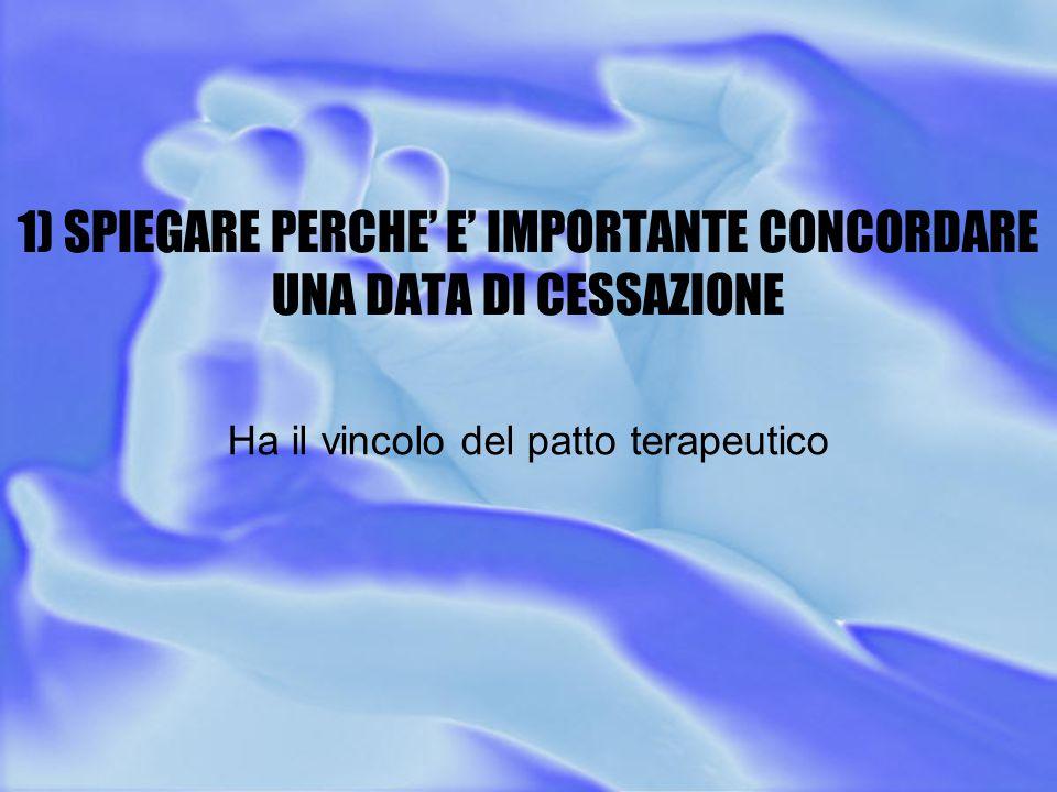 1) SPIEGARE PERCHE' E' IMPORTANTE CONCORDARE UNA DATA DI CESSAZIONE