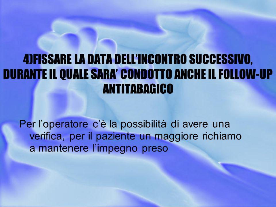 4)FISSARE LA DATA DELL'INCONTRO SUCCESSIVO, DURANTE IL QUALE SARA' CONDOTTO ANCHE IL FOLLOW-UP ANTITABAGICO