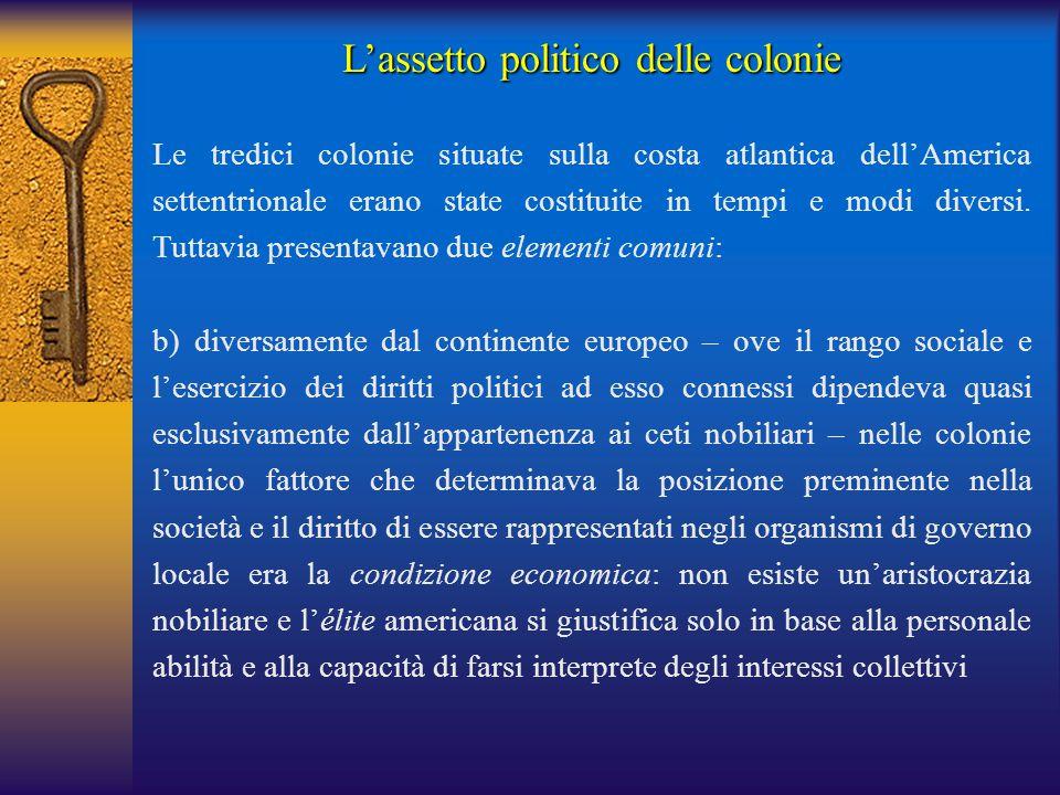 L'assetto politico delle colonie