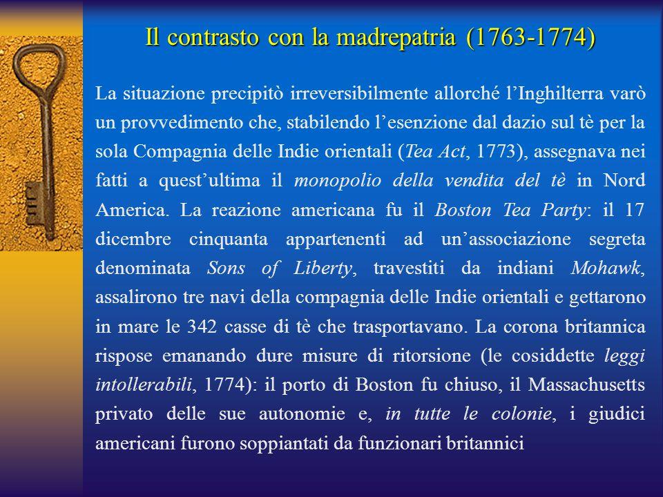 Il contrasto con la madrepatria (1763-1774)
