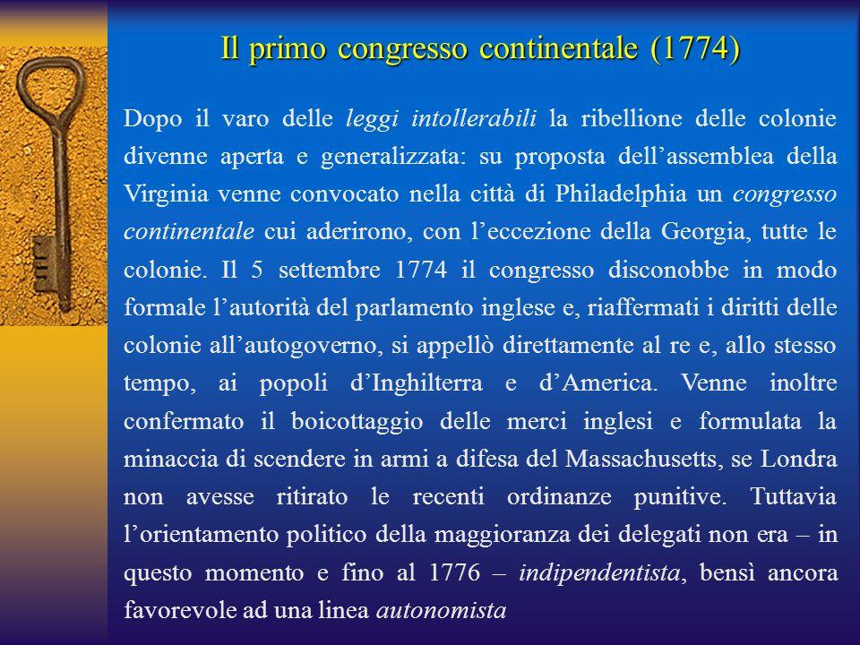 Il primo congresso continentale (1774)