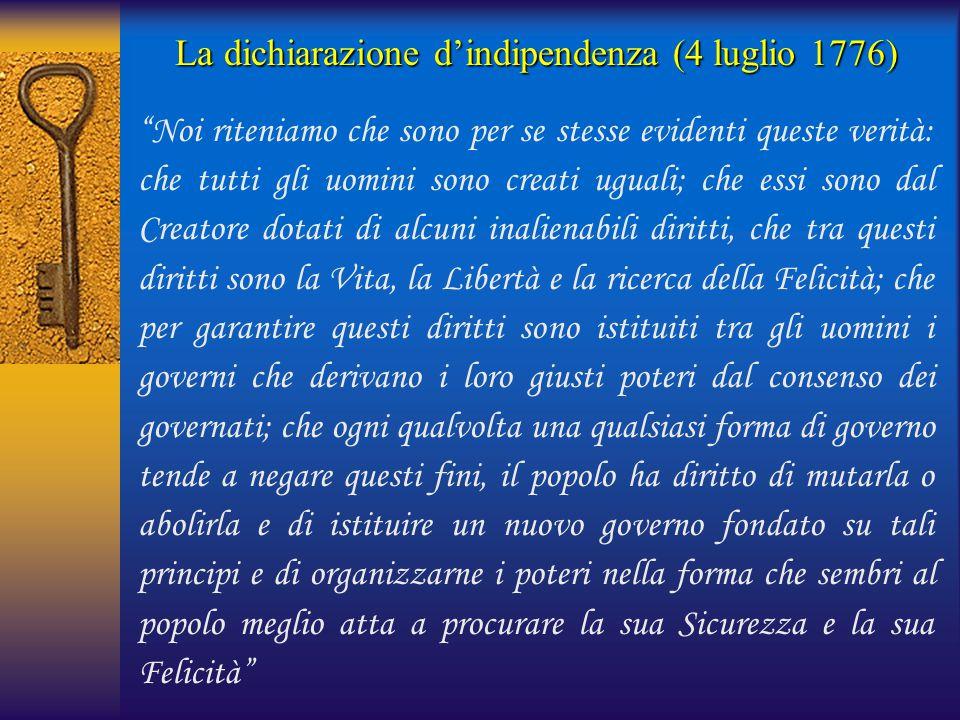 La dichiarazione d'indipendenza (4 luglio 1776)