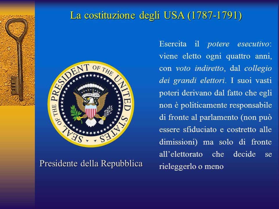 La costituzione degli USA (1787-1791)