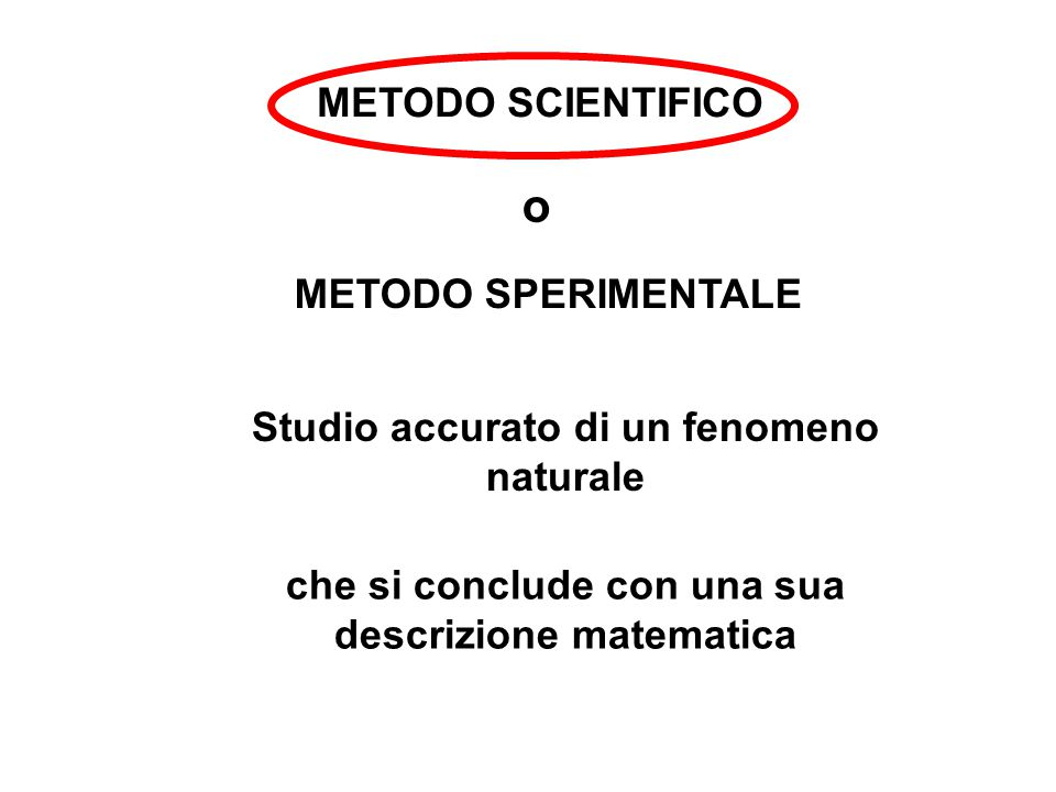 o METODO SCIENTIFICO METODO SPERIMENTALE