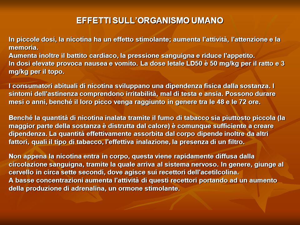 EFFETTI SULL'ORGANISMO UMANO