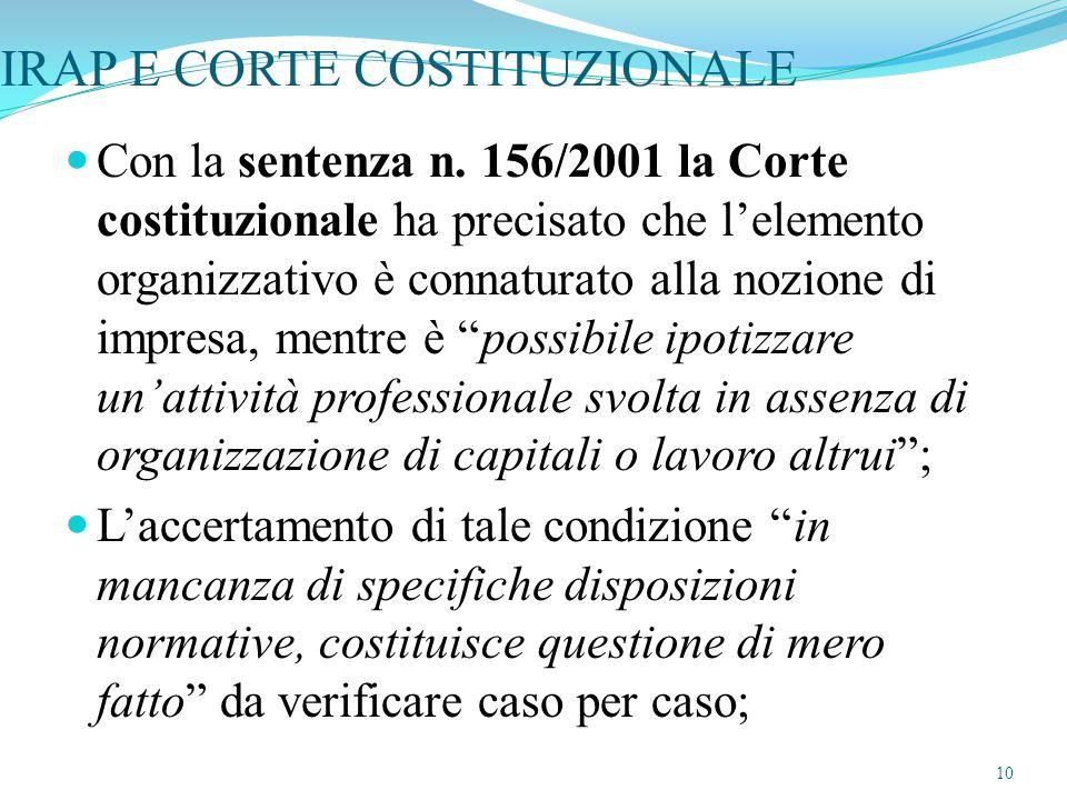 IRAP E CORTE COSTITUZIONALE