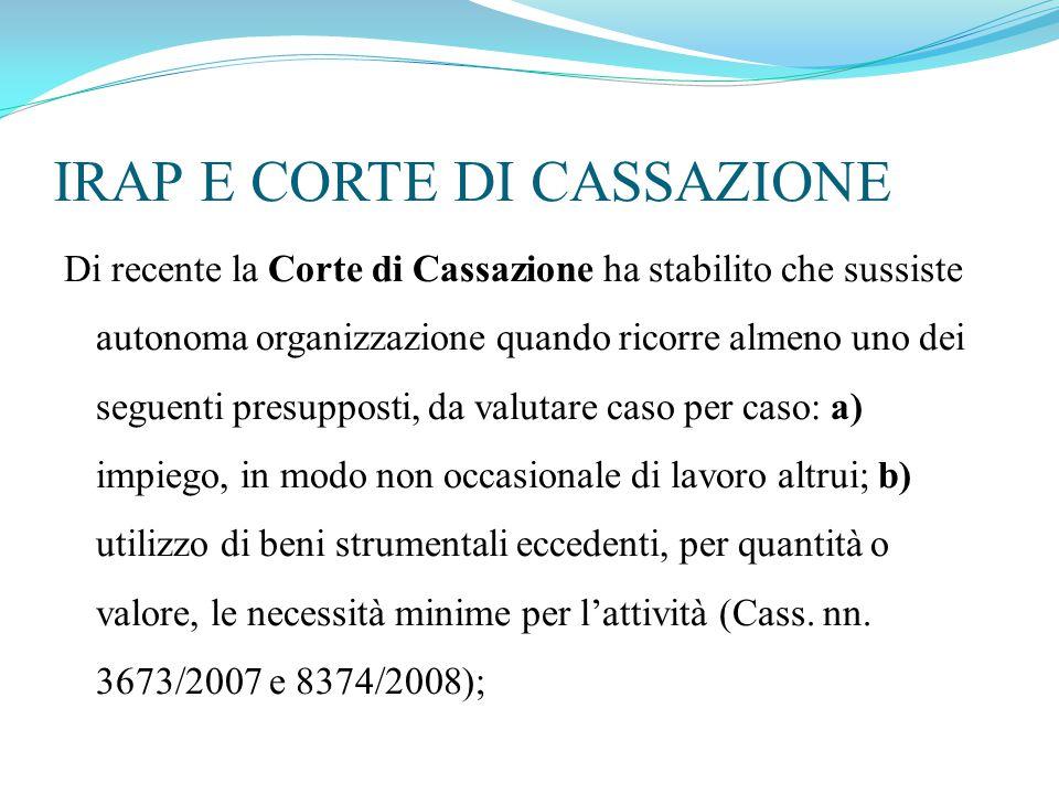 IRAP E CORTE DI CASSAZIONE