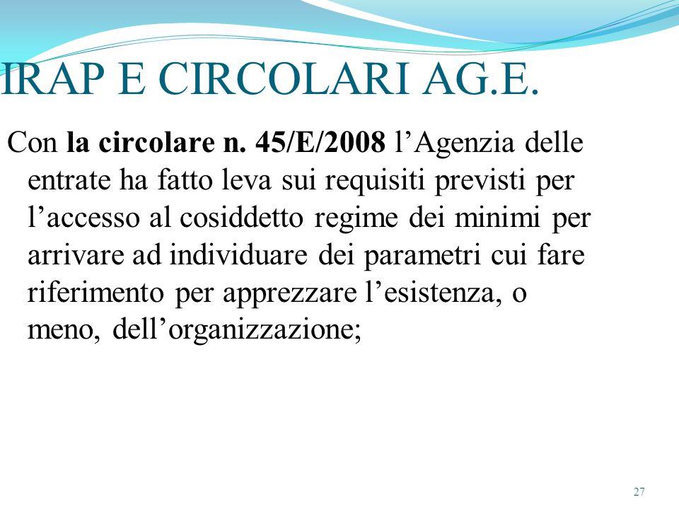 IRAP E CIRCOLARI AG.E.