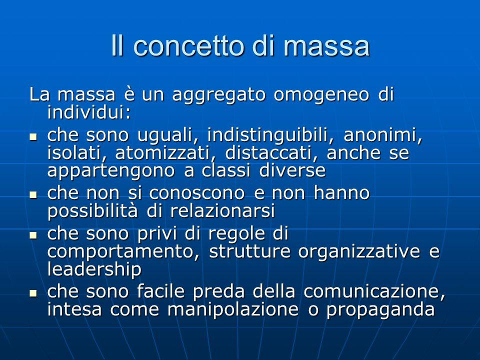 Il concetto di massa La massa è un aggregato omogeneo di individui: