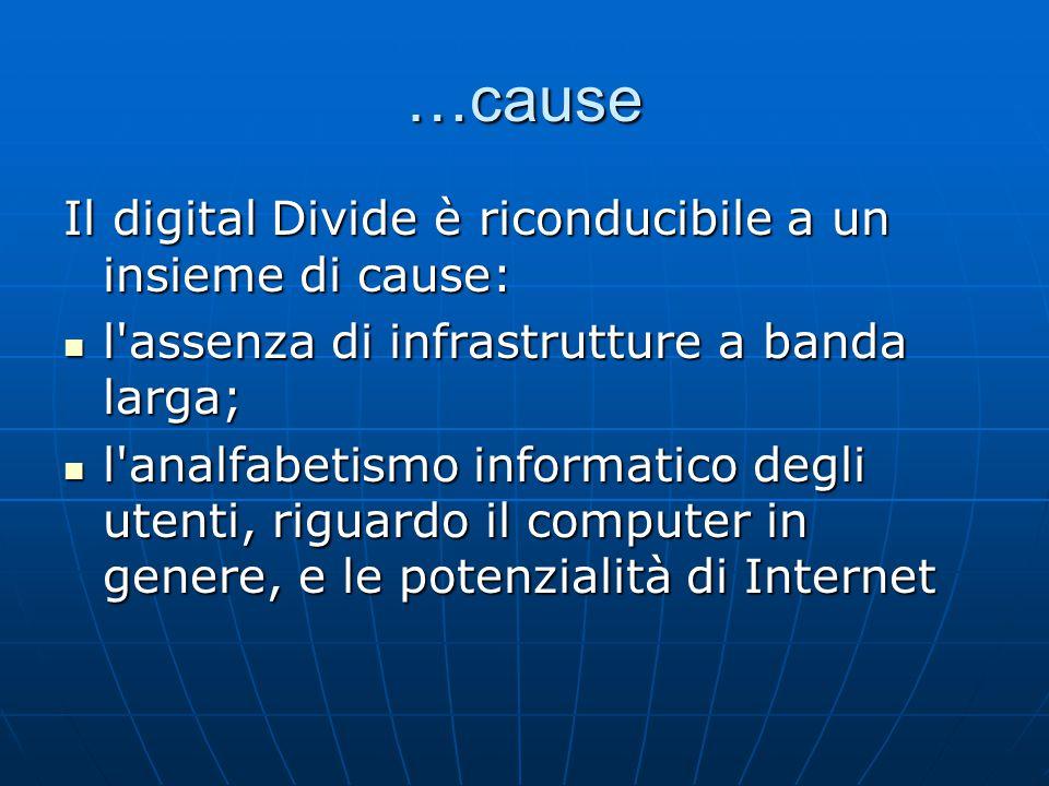 …cause Il digital Divide è riconducibile a un insieme di cause: