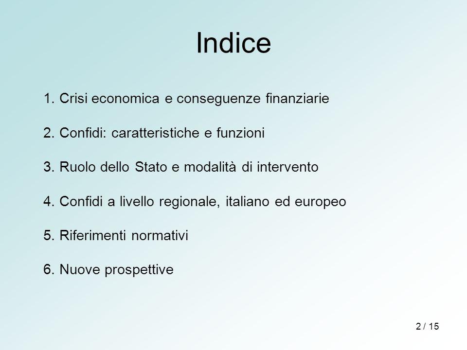 Indice 1. Crisi economica e conseguenze finanziarie