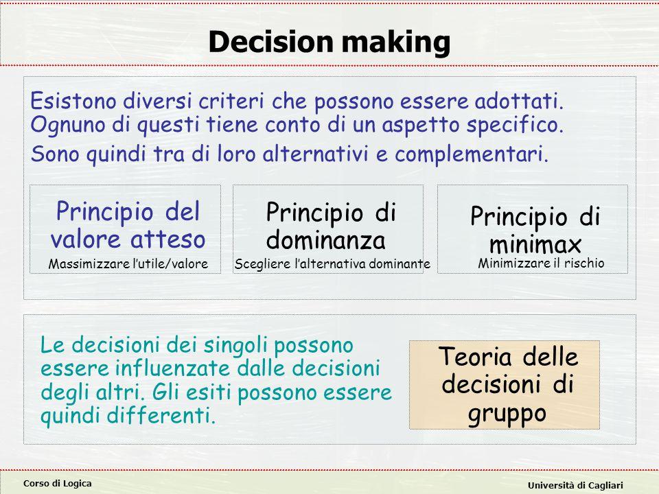 Decision making Principio del valore atteso Principio di dominanza