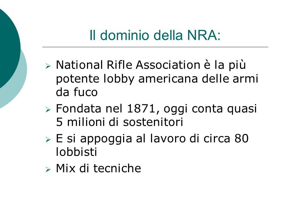 Il dominio della NRA: National Rifle Association è la più potente lobby americana delle armi da fuco.