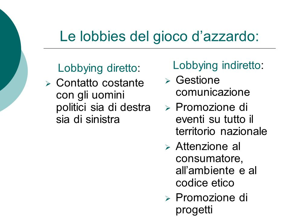 Le lobbies del gioco d'azzardo: