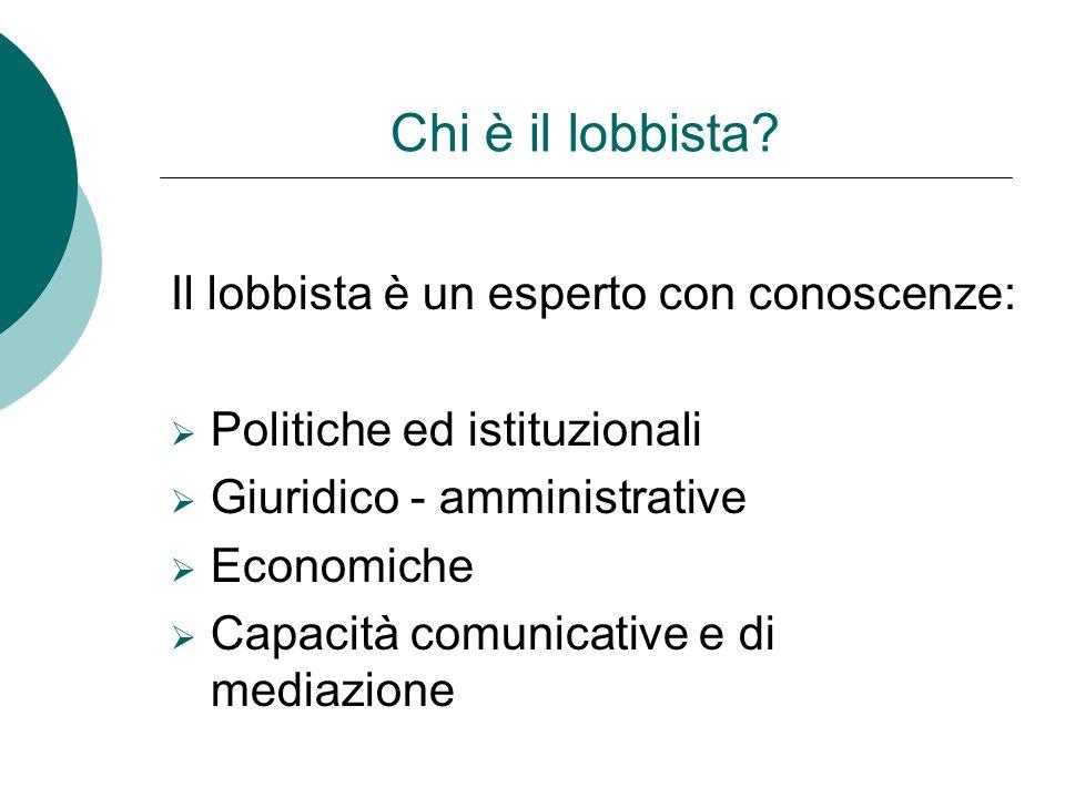Chi è il lobbista Il lobbista è un esperto con conoscenze: