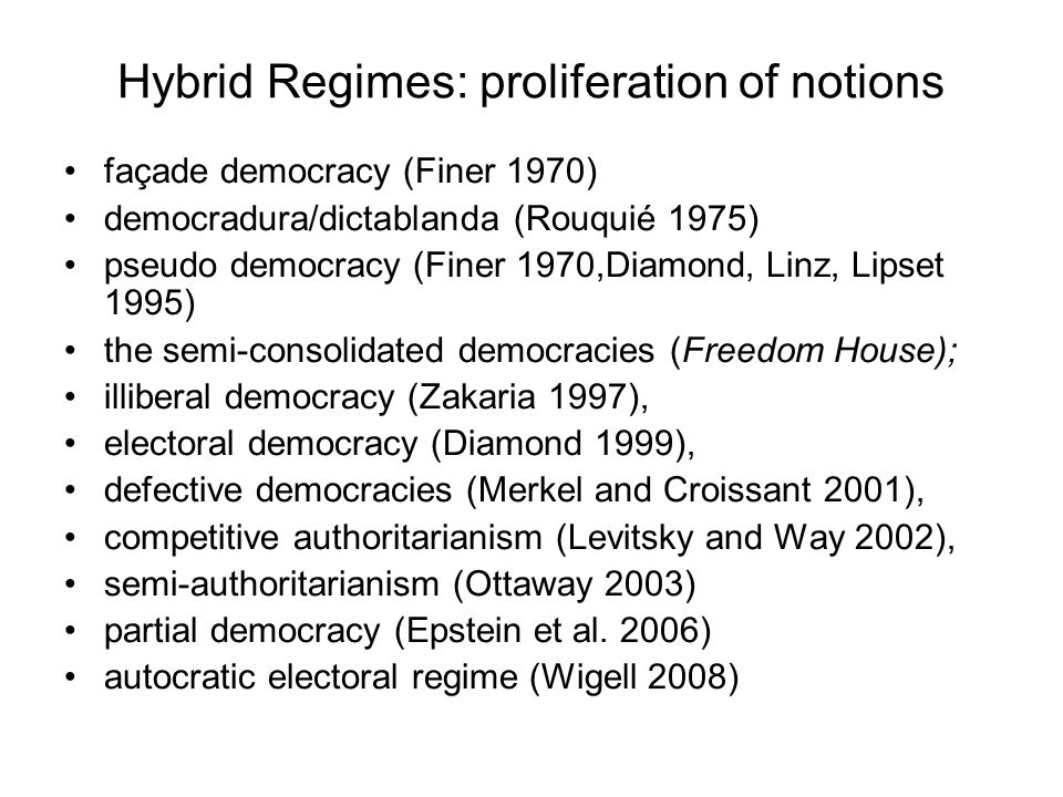 Hybrid Regimes: proliferation of notions