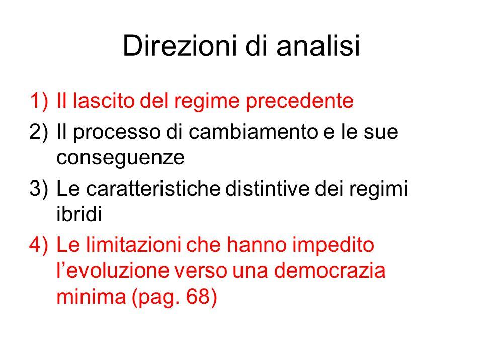 Direzioni di analisi Il lascito del regime precedente