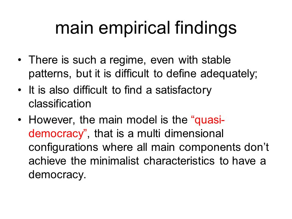 main empirical findings