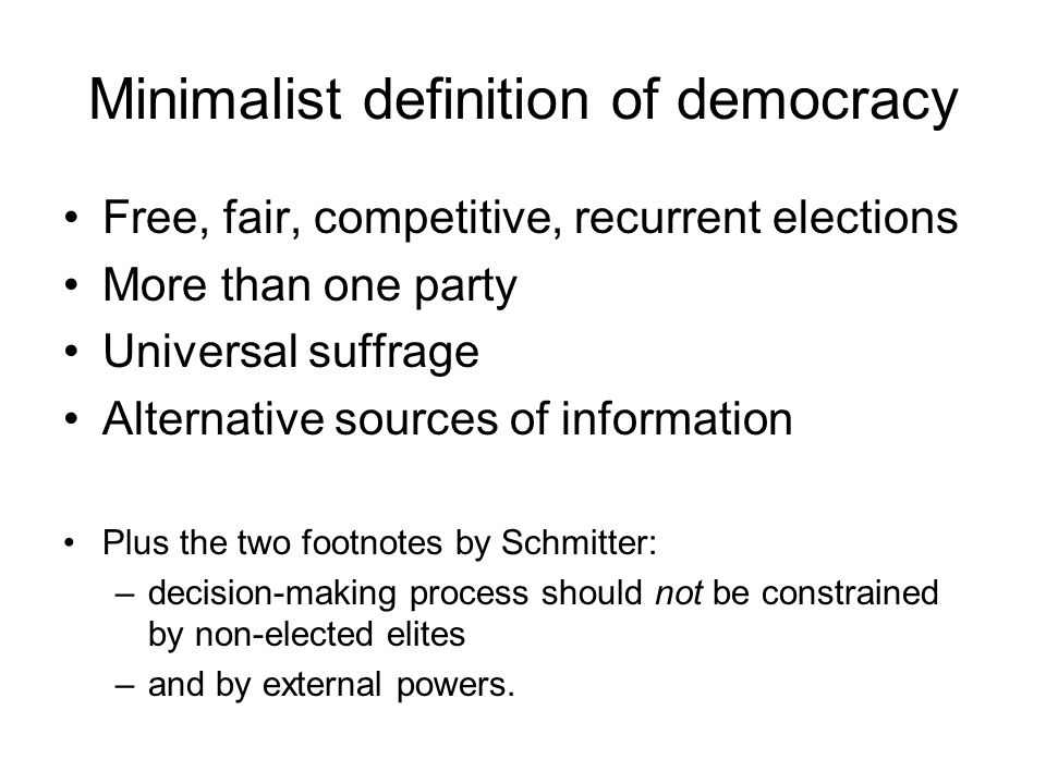 Minimalist definition of democracy