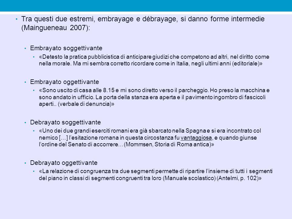 Tra questi due estremi, embrayage e débrayage, si danno forme intermedie (Maingueneau 2007):
