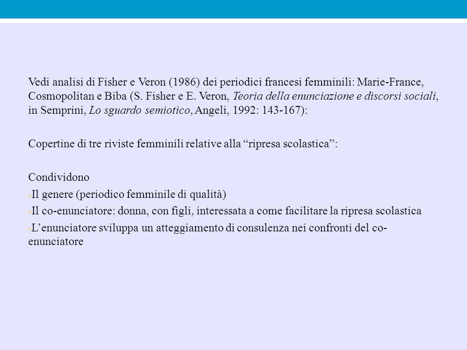Vedi analisi di Fisher e Veron (1986) dei periodici francesi femminili: Marie-France, Cosmopolitan e Biba (S. Fisher e E. Veron, Teoria della enunciazione e discorsi sociali, in Semprini, Lo sguardo semiotico, Angeli, 1992: 143-167):