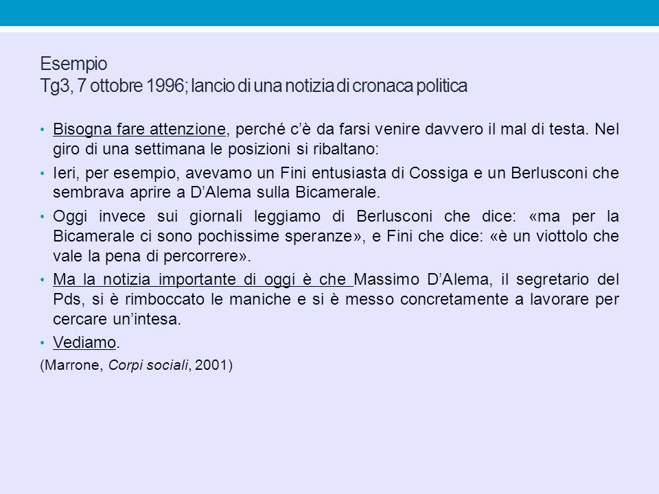 Esempio Tg3, 7 ottobre 1996; lancio di una notizia di cronaca politica