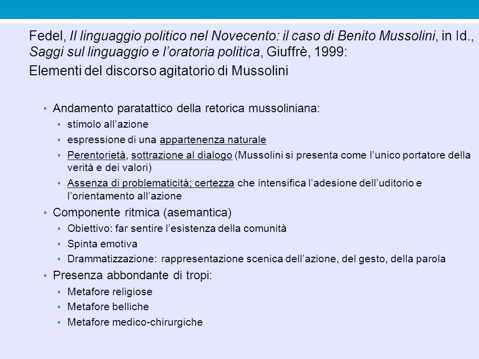 Elementi del discorso agitatorio di Mussolini
