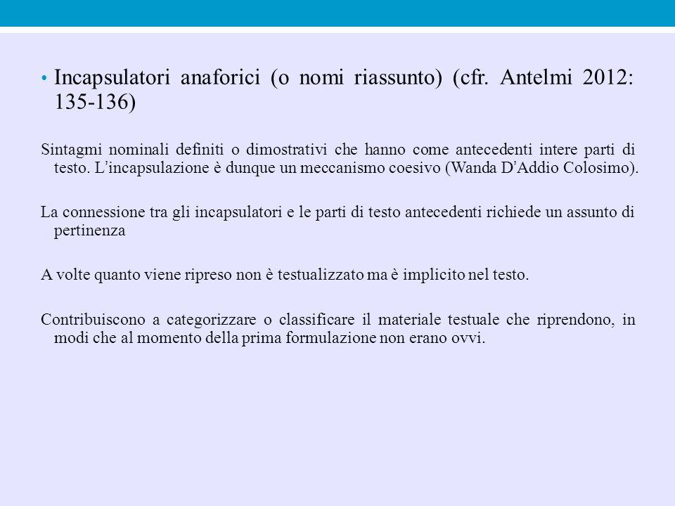 Incapsulatori anaforici (o nomi riassunto) (cfr. Antelmi 2012: 135-136)