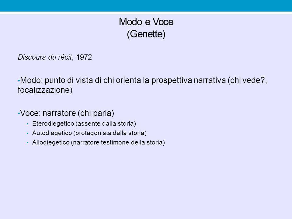 Modo e Voce (Genette) Discours du récit, 1972. Modo: punto di vista di chi orienta la prospettiva narrativa (chi vede , focalizzazione)