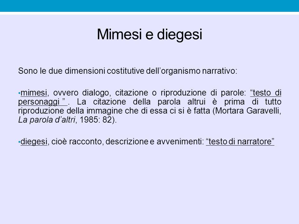 Mimesi e diegesi Sono le due dimensioni costitutive dell'organismo narrativo:
