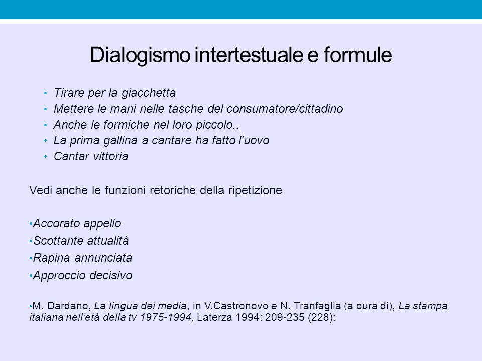 Dialogismo intertestuale e formule