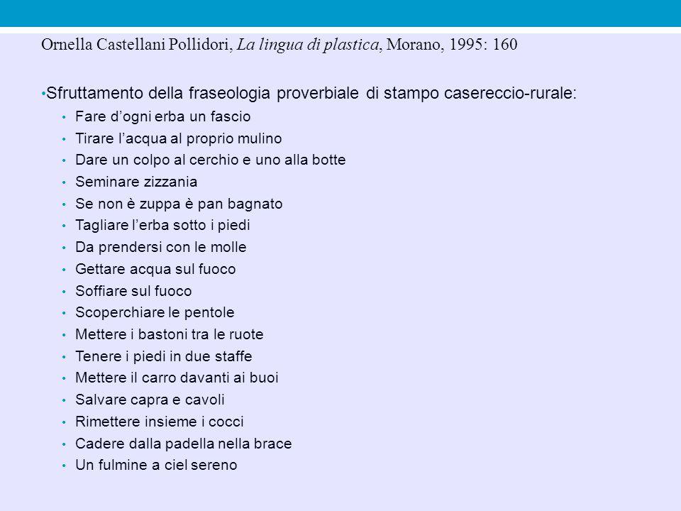 Ornella Castellani Pollidori, La lingua di plastica, Morano, 1995: 160