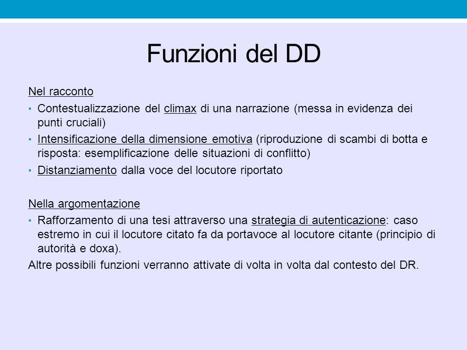Funzioni del DD Nel racconto