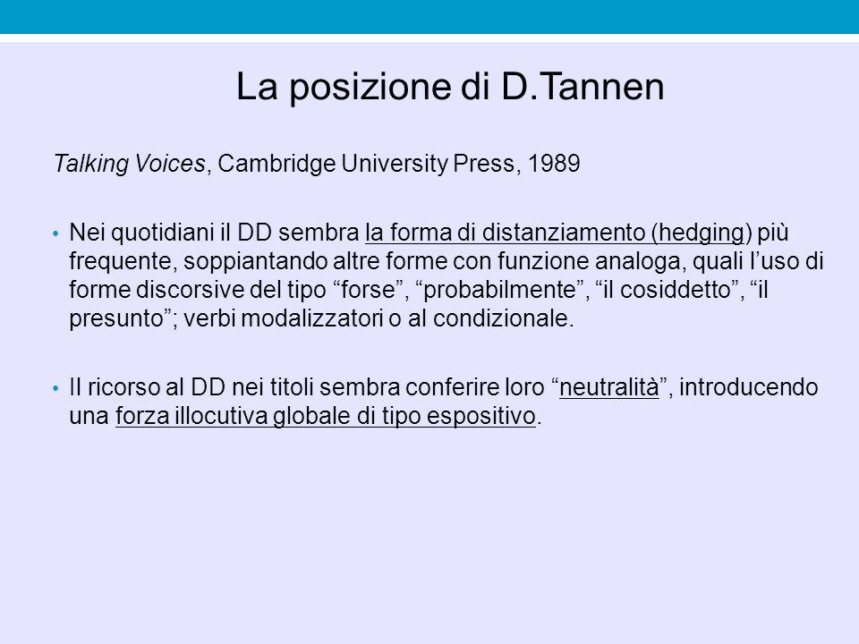La posizione di D.Tannen