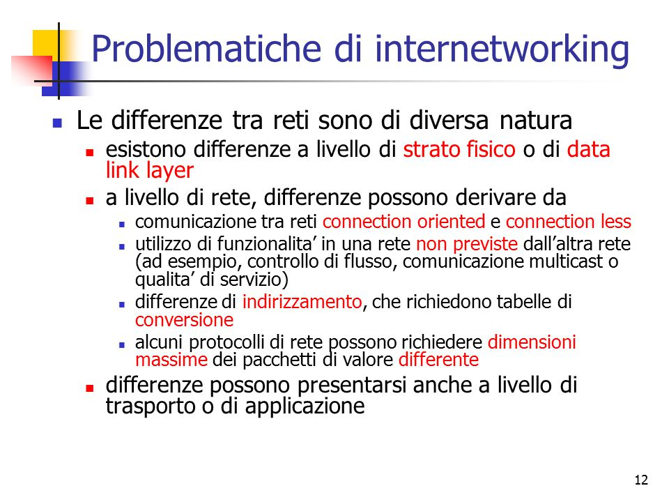 Problematiche di internetworking