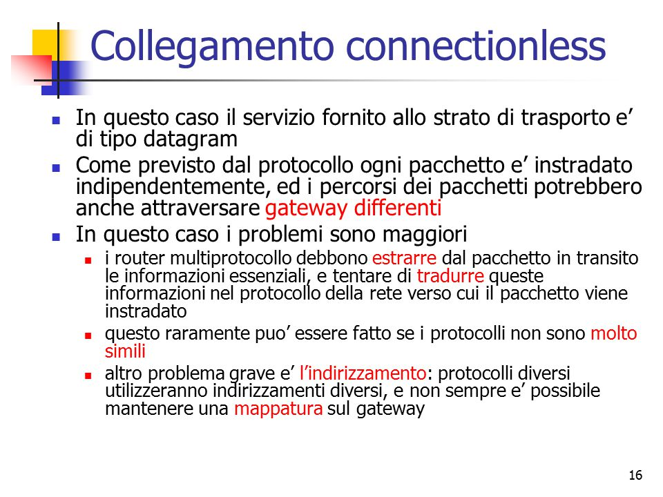 Collegamento connectionless