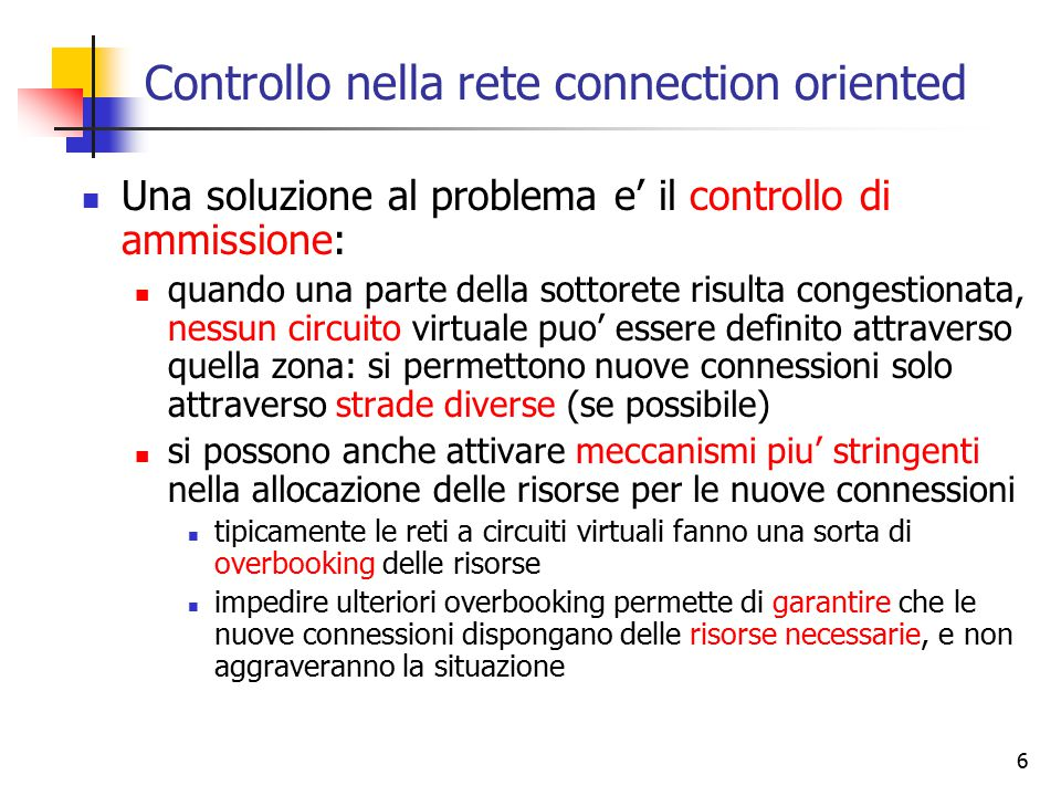 Controllo nella rete connection oriented