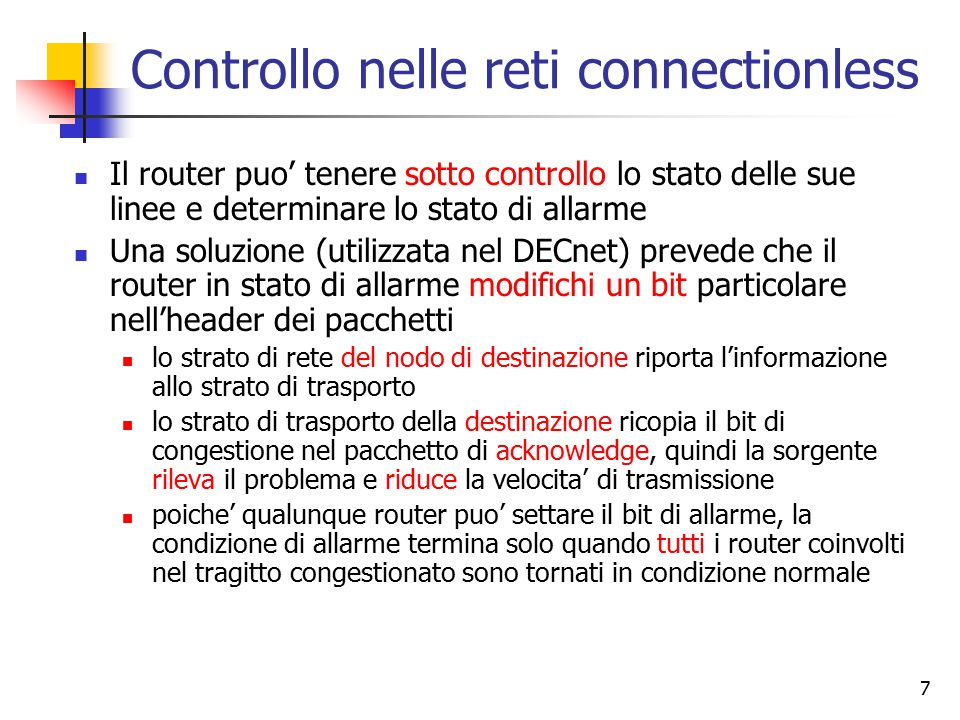 Controllo nelle reti connectionless