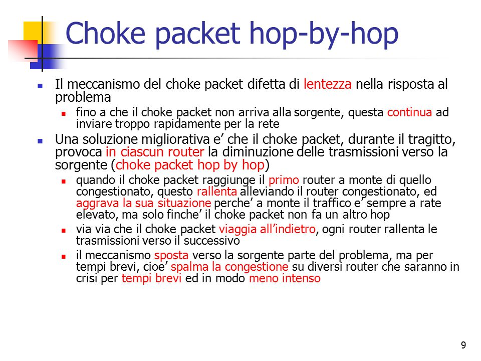 Choke packet hop-by-hop